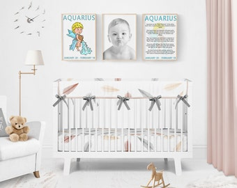 Aquarius Zodiac Sign Printables, Kids' Room Art, Nursery Art, Nursery Decor, Aquarius Horoscope, Instant Download