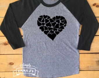 Valentine's shirt, Valentine's Day shirt, gift idea, women's shirt, baseball style, Hearts shirt