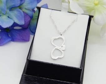 Handcrafted Sterling Silver Heart Necklace. Random Hearts. Hallmarked Wedding Pendant. Elegant 3 Heart Necklace. Three Connecting Hearts