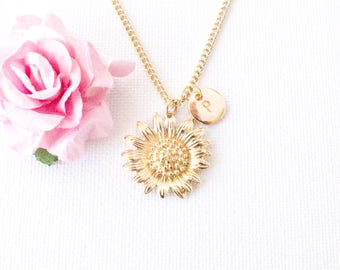 Gold sunflower necklace, sunflower, gold sunflower jewellery,  jewelry, flower, mothers day,Best Friends, sisters necklace, GSUIN0117