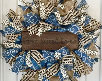 Burlap Door Wreath, Rustic Door Wreath, Year Round Wreath, Everyday Wreath, All Season Wreath, Shabby Chic Wreath, Country Wreath, Wreaths