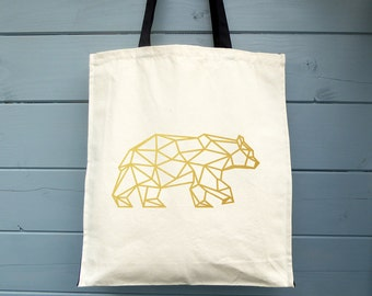 Geometric bear, Canvas Tote Bag, Market Tote Bag, Tote Bag, Shopping Bag, Gift for Her, Ethical Tote Bag, Cotton Tote Bag, Tote Shopper