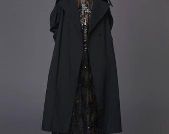 Black spring coat / Black asymmetric coat / Black long coat