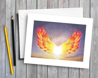 wings greeting card, angel wings, colourful wings, spread your wings, art card, note card, wings art, sympathy card, fly high, digital art