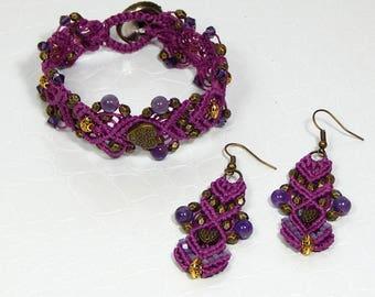 Bracelet and B.O lilac macrame finery