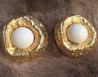 Vintage Les Bernard gold and white enamel cabochon clip earrings