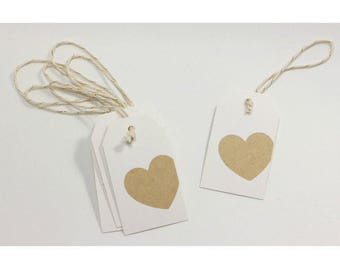 Kraft heart hang tags, set of 10 gift tags, tags with kraft heart sticker