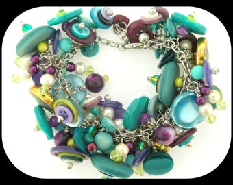 Vintage Heavy Handcrafted OOAK Charm BRACELET Turquoise Aqua Purple Lime and Lilac Button Beads 102GR!!
