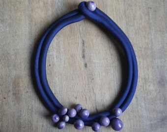 Ceramic collier,ceramic jewelry,ceramic necklace,Blue  silk collier,Purple collier,Romantic necklace,Chic outfit,bijou collier