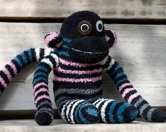 Handmade plush monkey, sock monkey with button eyes (black, striped)
