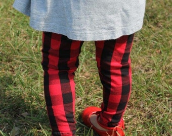 Red Buffalo Plaid Leggings- winter outfit, buffalo plaid, girl leggings, toddler leggings, baby leggings, christmas leggings, girl pants