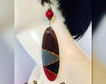 Hand painted wood earrings jewelry
