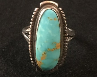 Vintage Navajo Sterling Set With Blue Turquoise Ring. Vintage Native American Art Deco Jewelry