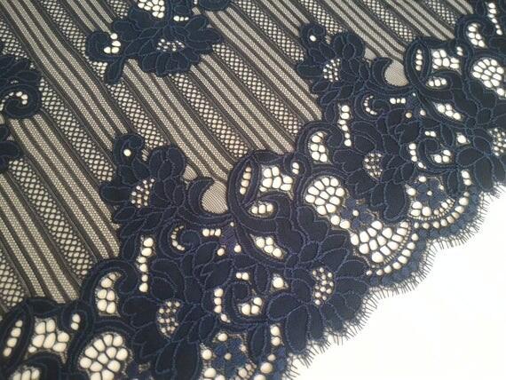 black lace fabric , French Lace, Embroidery lace, Wedding Lace, Bridal lace, Evening dress lace, Lingerie Lace, Alencon Lace