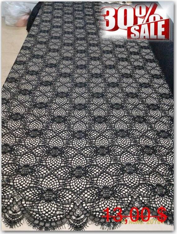 Black Lace fabric, Evening black lace fabric, Black Spanish style, Black Alencon Lace Fabric
