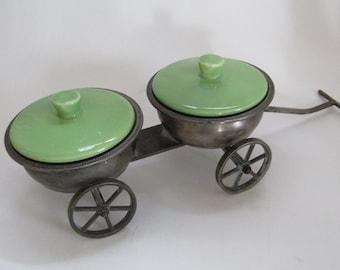 Vintage Pewter Wheeled Condiment Wagon-Avocado Ceramic Lids