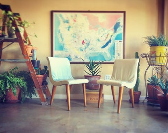 MCM White Vinyl Chairs, 2