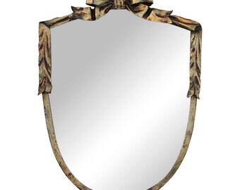 Dorothy Draper Style Gilt Bow & Shield Mirror