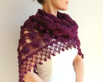 Violet shawl, violet wrap, purple shawl, purple wrap, plum shawl, wedding shawl, evening shawl, lacy shawl, fast shipping, ready to ship