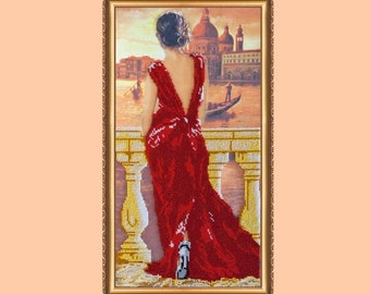 """The kit for a Embroidery with beads by ABRIS Art """"Evening embankment"""""""