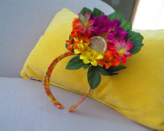 Tropical Sunset Floral Fascinator