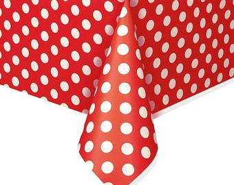 Red Polka Dot Plastic Table Cover