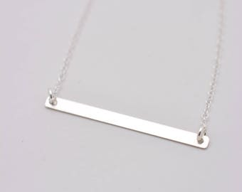 Sterling Silver Bar Necklace, Skinny Bar Necklace, Minimalist Layering Necklace, Real Sterling Silver Necklace - Gift for Her 0365
