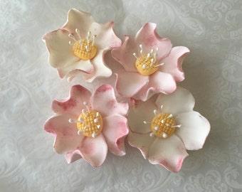4 Briar Roses Fondant Flowers 4 Briar Roses Gumpaste Flowers Edible Flowers Cake Decoration Cupcake Toppers Cake Toppers Wedding Cake Topper