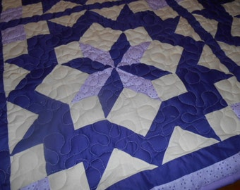 Beautiful Purple lap quilt with stars
