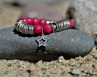 Red Agate Bracelet, Gemstone Bracelet, Bead Bracelet, Star Charm Bracelet, Crystal Charm Bracelet