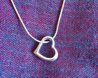 Silver Floating Heart