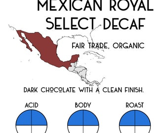 Mexican Royal Select Decaf - Fair Trade, Organic, Shade Grown, Water processed
