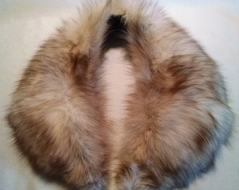 Vintage Brown and Cream Fox Fur Collar Scarf Stole 1960s Elegant