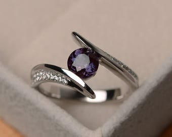 Lab alexandrite ring, round cut engagement ring, bezel setting, sterling silver