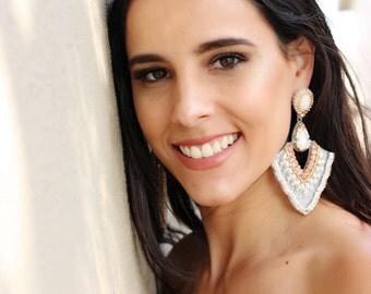 White pearl  earring, party earring,  long earring, party earring, statement earring, extravagant earring