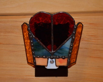 Stained Glass LED Night Light with Heart