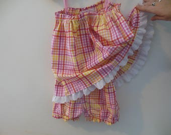 Pink Check Dress with bloomers.