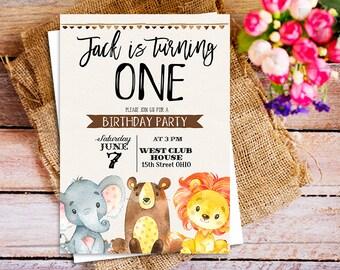 Safari Birthday Invitation, Animal Birthday Invitation, Boy Birthday Invitation, Kids Birthday invites, Safari first birthday invite, animal