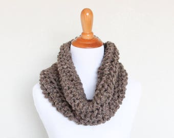 READY TO SHIP - Chunky Knit Cowl, Hand Knit,  Chunky Knit Scarf,  Barley, Carbon Cowl