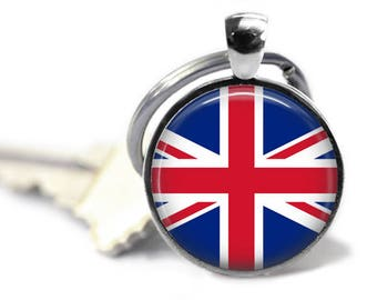Union Jack Keyring, 25mm Round Keychain, Great Britain, UK Flag, World Flag