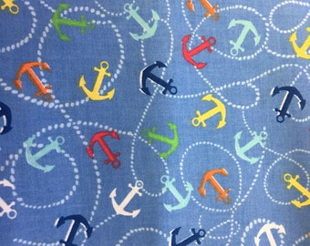 Anchor fabric - nautical fabric - ships wheel fabric - material - sewing -supply notion - bty - 1yard