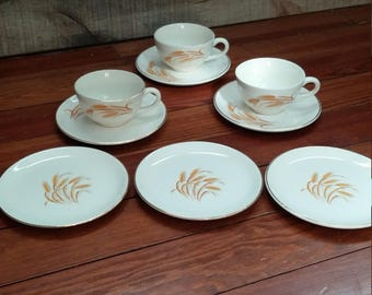 Golden Wheat Tea Cups and Saucers