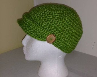 Crocheted Grass Green Newsboy cap with Vintage yarn and Wood Buttons