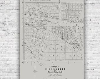 Miners Rest 1854, Antique Map in Dove Grey, poster, print, antique map, wall art, Ballarat