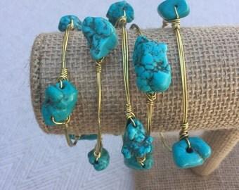 Turquoise Stone Wire-Wrapped Bangle Bracelet