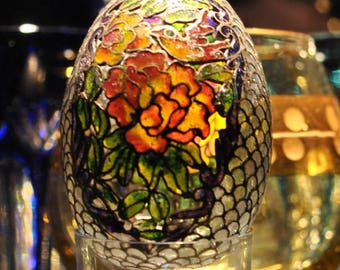 Sale! Vintage Plique-a-Jour, Cloisonne Egg,  Outlined in Gold, Stained Glass Plique-a-Jour Egg in Light Blue Display Box