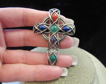 Vintage Religious Signed Solodr Multi Colored Stone Cross Pin