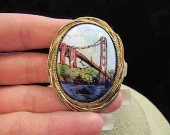 Vintage Ceramic Hand Painted Bridge Water Pin
