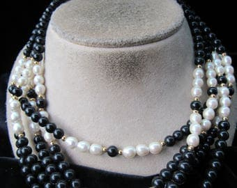 Vintage Chunky Black Beaded & Faux Pearl Necklace