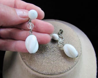 Vintage Pair Of Milk Glass & Clear Glass Beaded Dangle Screw Back Earrings